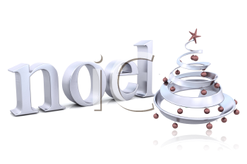 Royalty Free Clipart Image of a Tree By the Word Noel