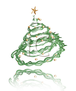 Royalty Free Clipart Image of a Twisted Christmas Tree