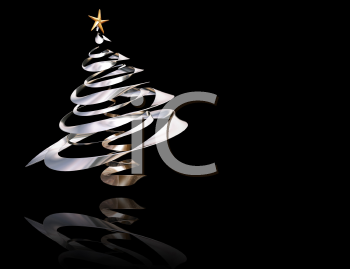 Royalty Free Clipart Image of a Metallic Tree