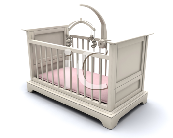 Royalty Free Clipart Image of a Baby Girl's Crib