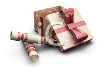 Royalty Free Clipart Image of a Christmas Present and Holiday Crackers