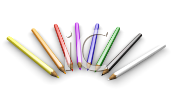 Royalty Free Clipart Image of Colouring Pencils