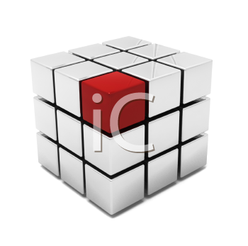 Royalty Free Clipart Image of Rubik's Cube With a Red Block