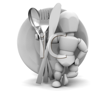 Royalty Free Clipart Image of a Person With Utensils In Front of a Plate