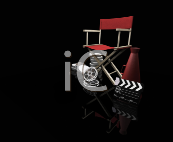 Royalty Free Clipart Image of Movie Director's Items on Black