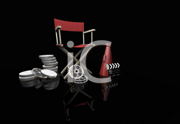 Royalty Free Clipart Image of a Movie Director's Chair With Bullhorn, Clapper and Reels on Black