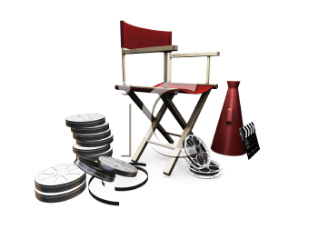 Royalty Free Clipart Image of a Movie Director's Items