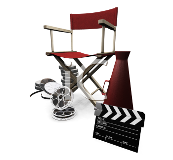 Royalty Free Clipart Image of a Director's Chair, Clapper, Megaphone and Movie Reels