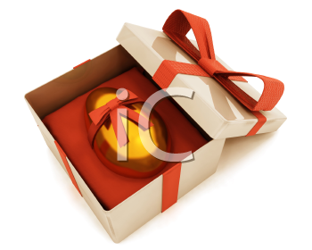 Royalty Free Clipart Image of an Easter Egg in Gift Box