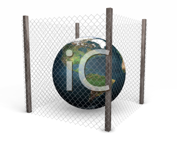 Royalty Free Clipart Image of a Globe Inside a Wire Fence