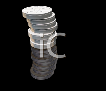 Royalty Free Clipart Image of Film Canisters on a Black Background