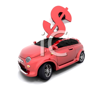 Royalty Free Clipart Image of a Dollar Sign Crashing Onto a Car