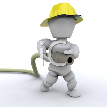 Royalty Free Clipart Image of a Firefighter With a Hose