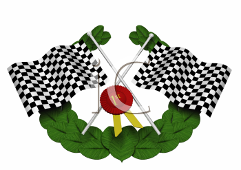 Royalty Free Clipart Image of Checkered Flags, a Wreath and Ribbon