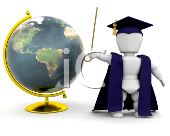 Royalty Free Clipart Image of a Teacher and Globe