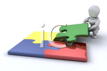 Royalty Free Clipart Image of a Guy Connecting Puzzle Pieces