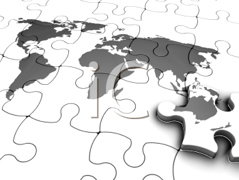 Royalty Free Clipart Image of a World Jigsaw Puzzle