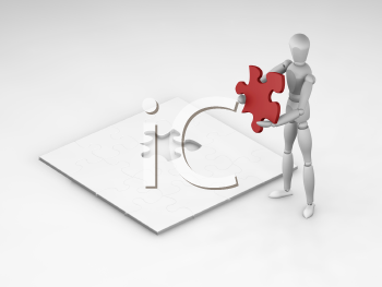 Royalty Free Clipart Image of a Person Doing a Puzzle