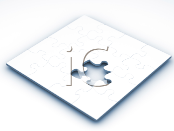 Royalty Free Clipart Image of a Puzzle Piece Missing