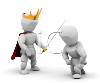 Royalty Free Clipart Image of a King Knighting Someone