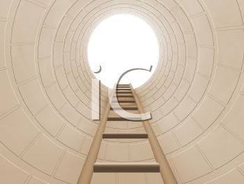 Royalty Free Clipart Image of a Ladder Going Up to a Hole
