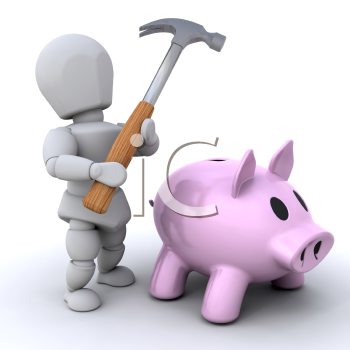 Royalty Free Clipart Image of a Man About to Smash a Piggy Bank With a Hammer
