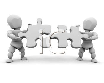 Royalty Free Clipart Image of Two People Holding Puzzle Pieces