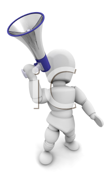 Royalty Free Clipart Image of Someone Shouting Into a Megaphone