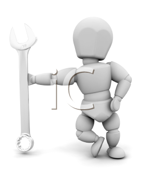 Royalty Free Clipart Image of a Person Holding a Spanner