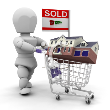 Royalty Free Clipart Image of a Guy Wheeling a House in a Shopping Cart With a Sold Sign on It