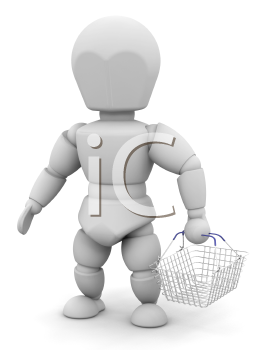 Royalty Free Clipart Image of a Person Carrying a Basket