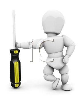 Royalty Free Clipart Image of a 3D Guy With a Screwdriver