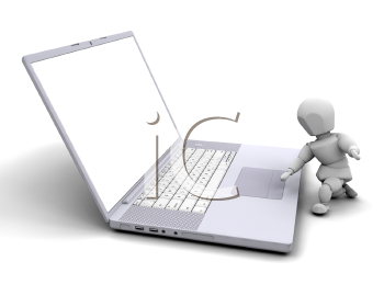 Royalty Free Clipart Image of a Person on the Computer