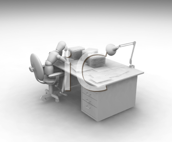 Royalty Free Clipart Image of a Person Working at a Desk