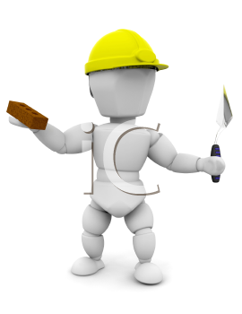 Royalty Free Clipart Image of a Guy With a Brick and a Trowel