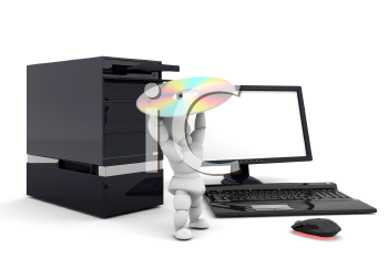 Royalty Free Clipart Image of a Person Putting a Disk Into a Computer