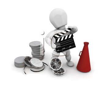 Royalty Free Clipart Image of a Someone With Movie Making Items