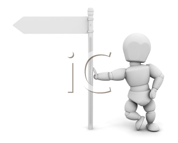 Royalty Free Clipart Image of a Guy Against a Blank Signpost