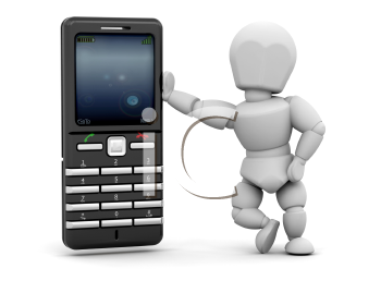 Royalty Free Clipart Image of a Person With a Mobile Phone