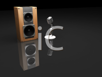 Royalty Free Clipart Image of a Speaker and Microphone
