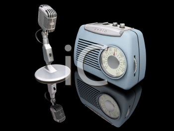 Royalty Free Clipart Image of a Retro Radio and Microphone