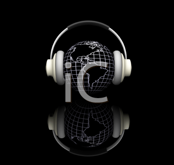 Royalty Free Clipart Image of a Globe With Headphones