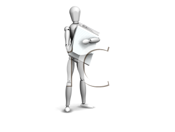 Royalty Free Clipart Image of a Man With a Notepad