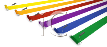 Royalty Free Clipart Image of Paint Rollers Leaving Strips of Colour