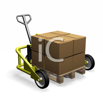 Royalty Free Photo of a Pallet Truck With a Box