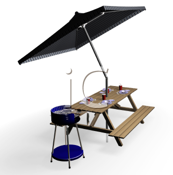 Royalty Free Clipart Image of a Picnic Table With Umbrella and Barbecue