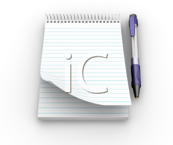 Royalty Free Clipart Image of a Notepad With Pen