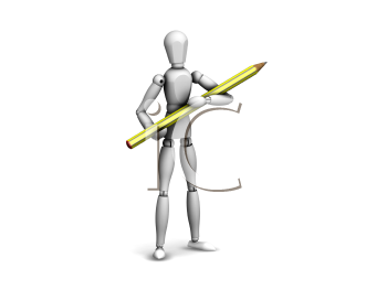 Royalty Free Clipart Image of a Guy Holding a Pencil