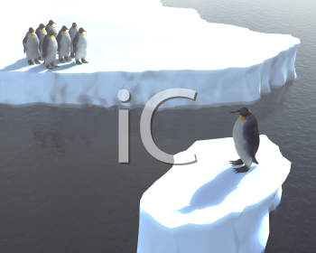 Royalty Free Clipart Image of Penguins With One Stuck Alone on an Iceberg