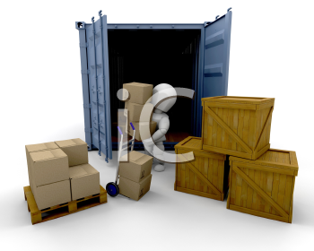 Royalty Free Clipart Image of a Person Unloading From a Freight Container